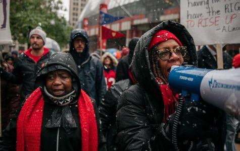 Strikers gather in downtown Chicago, Illinois on Thursday, October 17. About 25,000 teachers took part in the 11-day strike, which they pitched as a fight for equity in a city which has long struggled fiscally.