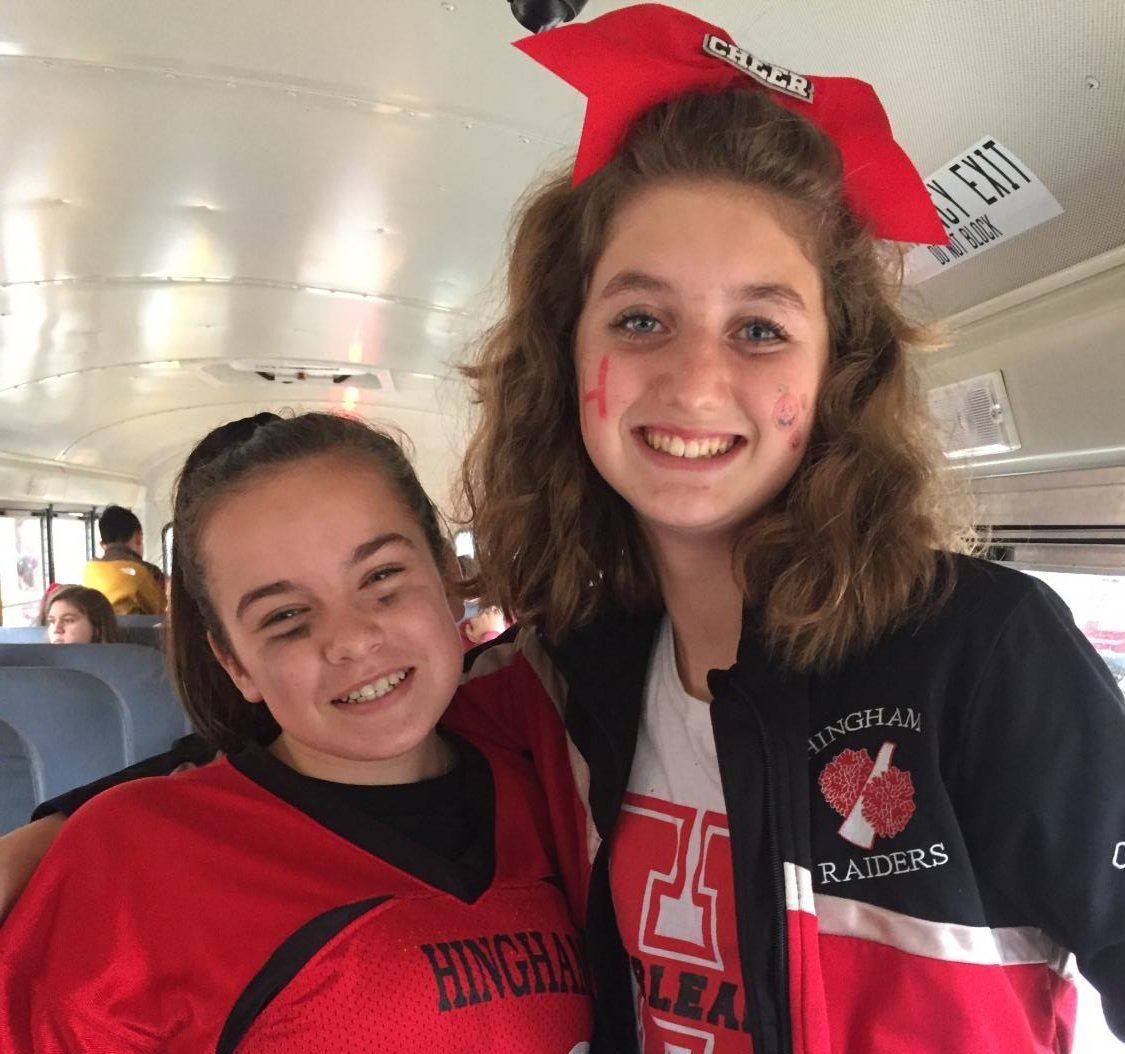 Freshmen Alexandria Dumas (right) and Haley Cogill (left) show their school and Halloween Spirit by dressing as a football player and cheerleader.