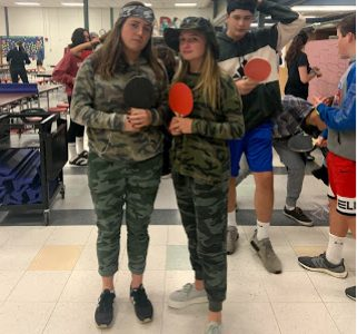 Seniors Julia Foley and Riley St. Pierre dressed up in camouflage, and were recognized for having the best team costume at the event.