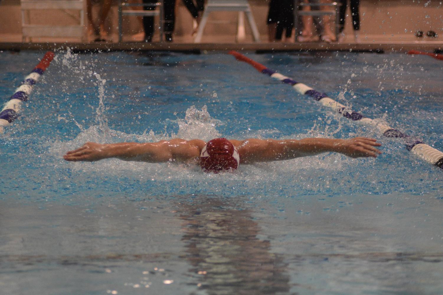 Sophomore Stevie Macdougal flew through the butterfly leg of the 200 Individual medleys. He finished 6th overall with a time of 2:21.13.