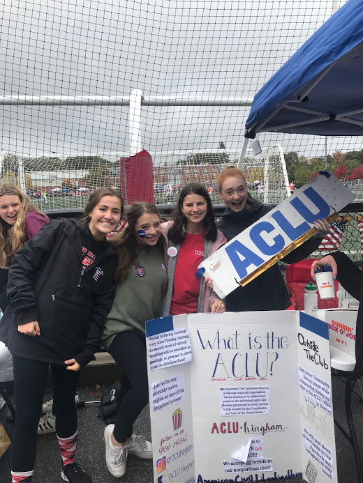 From left: sophomores Elle Cavanaugh, Kate Schembri, Caroline Bastardi, and Morgan Buczynski spread ACLU cheer at the 2019-2020 homecoming game.