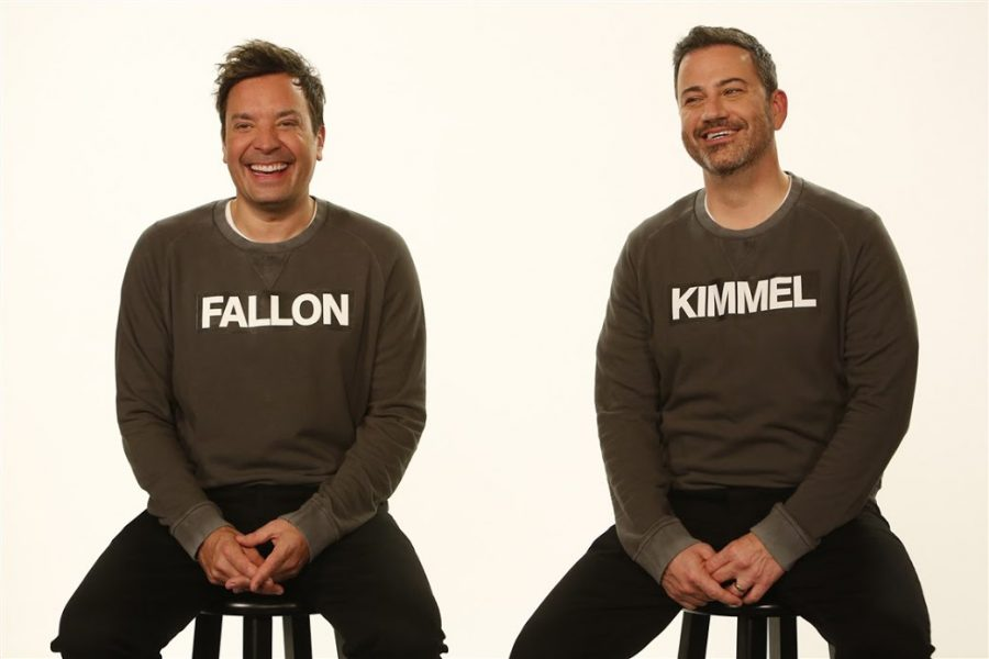Jimmy+Fallon+and+Jimmy+Kimmel%2C+Two+of+three+hosts+of+the+One+World+Together+at+Home+live+concert.