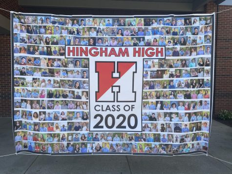A close up of the PTO banner that hangs outside the front door of HHS.