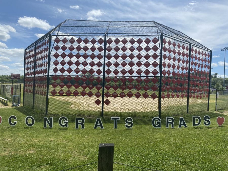 All the names of the HHS seniors are displayed on the backstop of the softball field at HHS-another thoughtful gesture of the PTO.