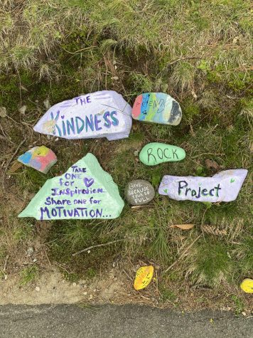 Hingham Residence keeping our community motivated with kindness rocks which line Main street.