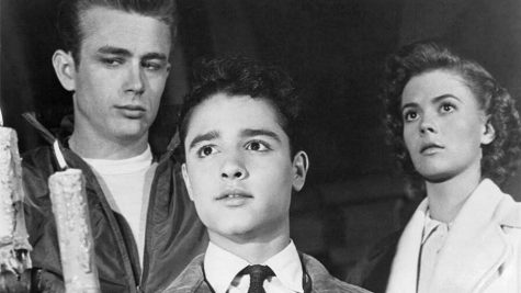 "James Dean, Sal Mineo, and Natalie Wood star in the 1955 film ""Rebel Without a Cause."""