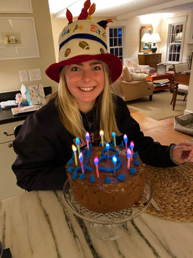 Senior Libby MacPhearson celebrated her eighteenth birthday at home with her family.