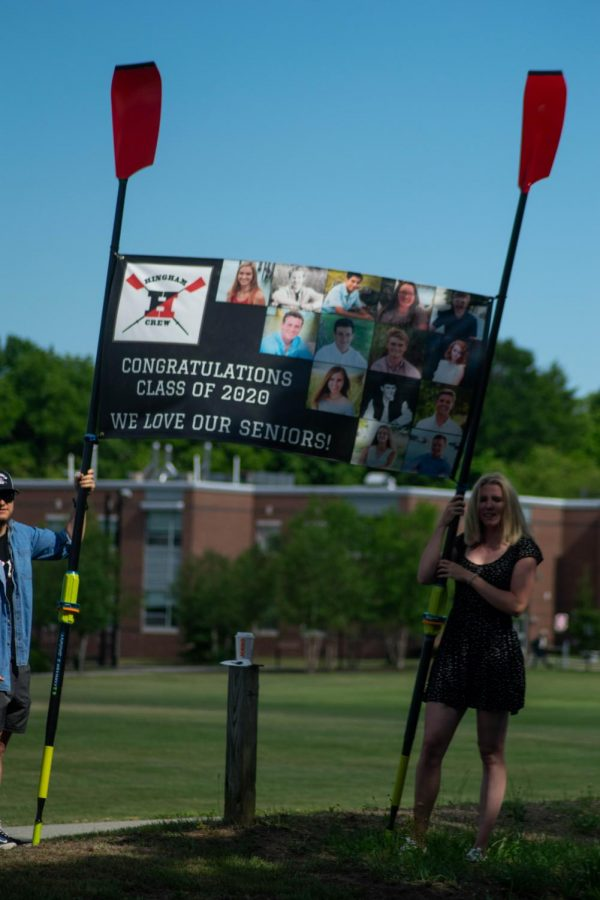 The graduating members of the Hingham Crew Team also received a warm welcome with an impressive banner.