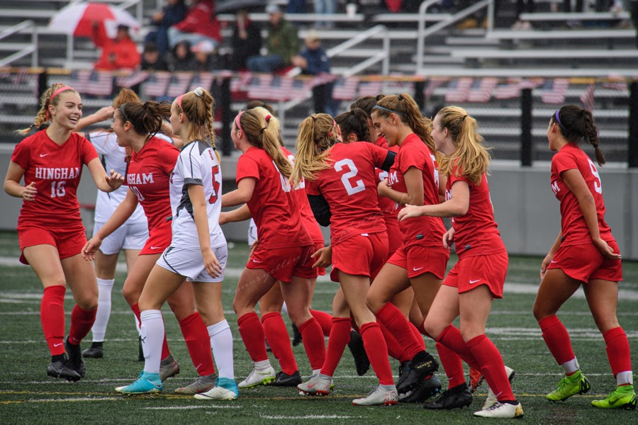 Hingham+girls%27+soccer+during+the+2019+season.+Although+games+will+look+different+this+year%2C+the+teams+energy+and+talent+remains.+