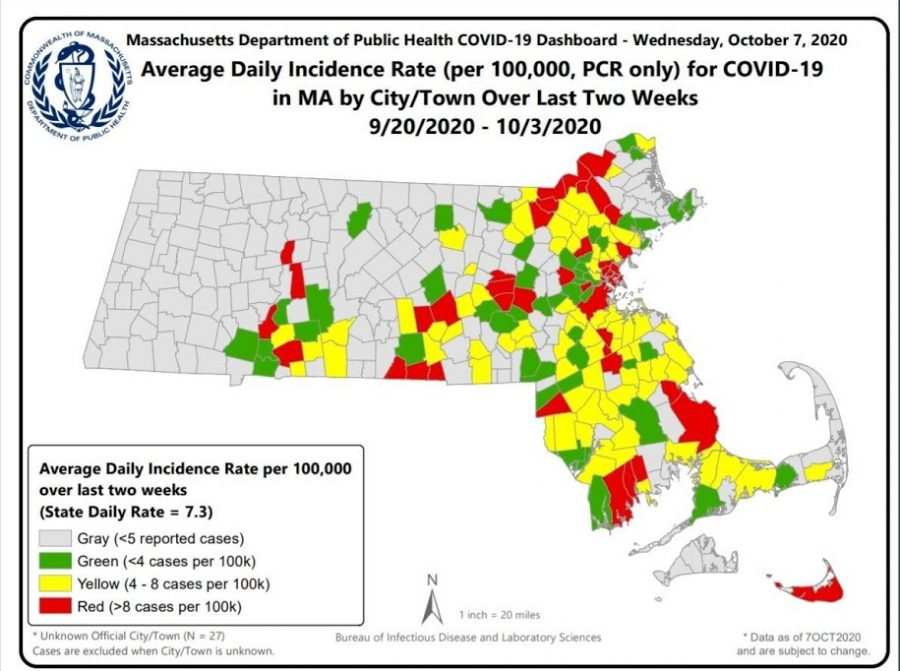 This Map places Hingham in a higher risk territory within Massachusetts. We're within the range of 4-8 cases per 100k.