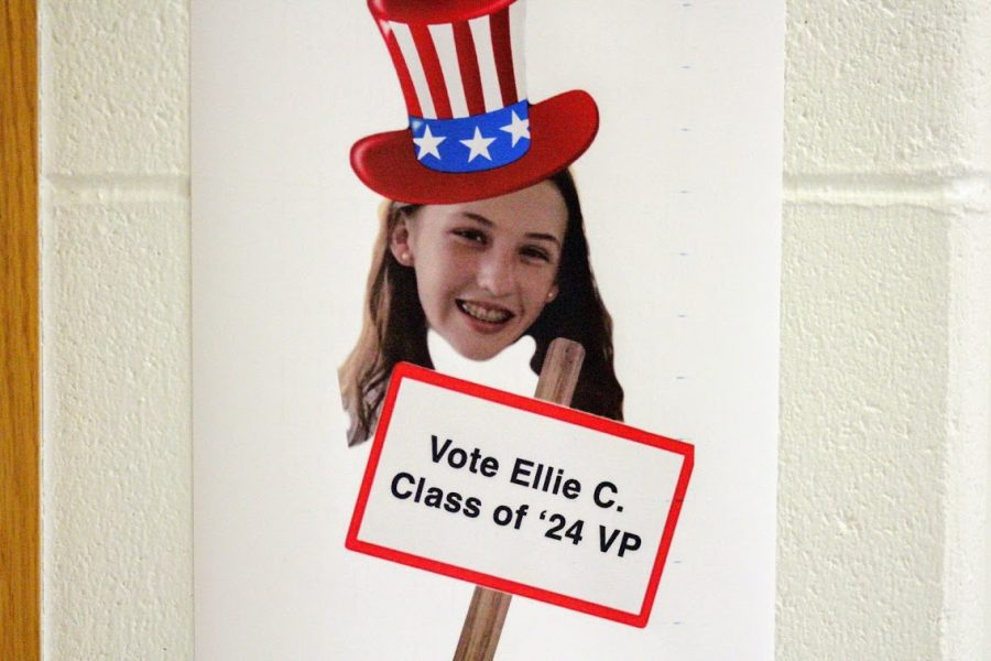 Freshman Ellie Clark campaigns around the halls of Hingham High school in the hope of being elected as the Class of 2024's Vice President.