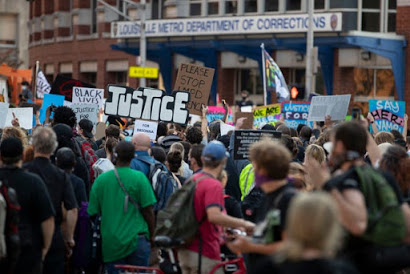 Protests gather in Jefferson Square Park in Louisville, KY, following Officer Brett Hakison's disappointing indictment on a mere first-degree wanton endangerment charge. (September 26, 2020)