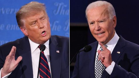 Trump and Biden at their first presidential debate in 2020.