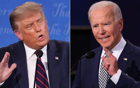 Trump and Biden at their first presidential debate in 2020.