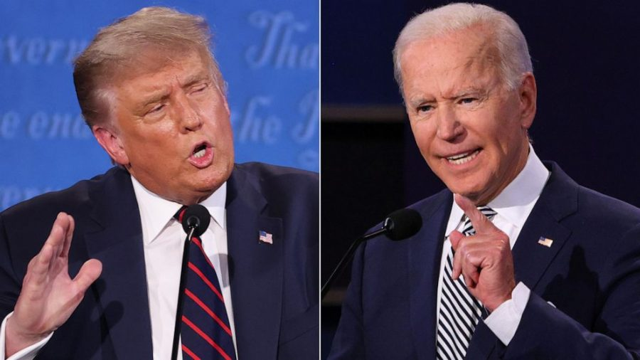 Trump+and+Biden+at+their+first+presidential+debate+in+2020.+