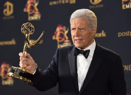 Trebek poses with his trophy for outstanding gameshow host for Jeopardy at the 46th annual Daytime Emmy Awards in May, 2019.