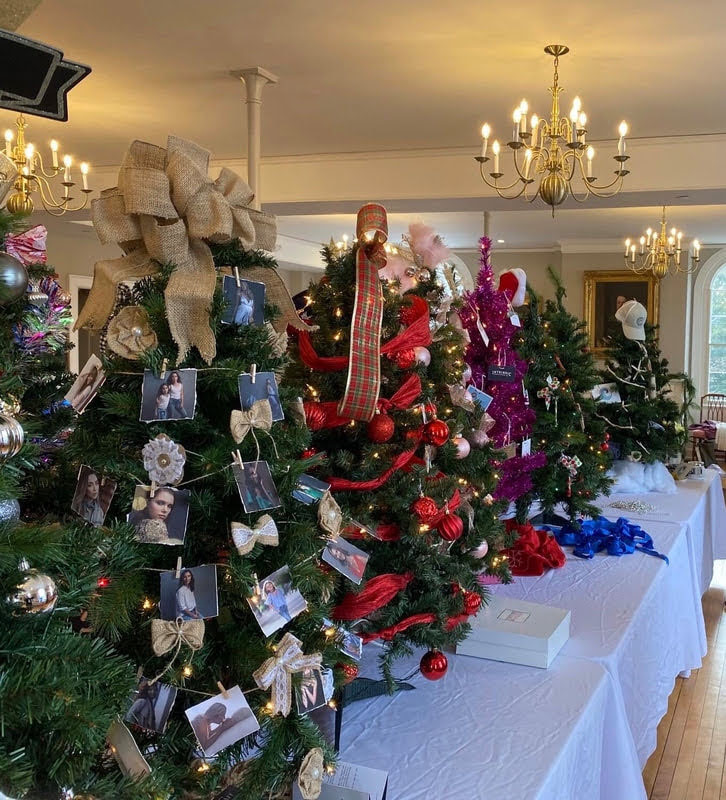 A photo of beautifully decorated trees from The Festival of Trees 2019 from the Hingham Women's Club Website.