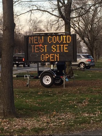 Signs around town for the new COVID-19 Testing Site on 308 Cushing Street