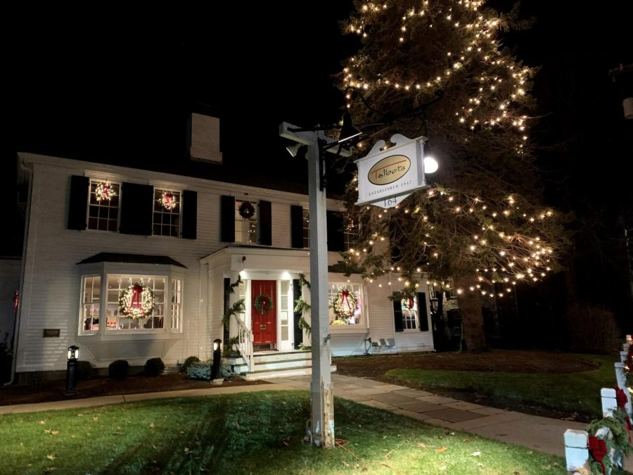 Talbots lights up North Street with intricate wreaths and its annual Christmas tree.