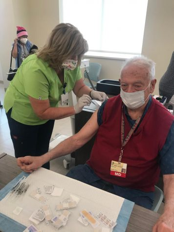 The end of 2020 brought the exciting roll out of COVID-19 Vaccines. Former physician and now teacher at Brockton hospital, Dr. James Gilbert, was one of the first healthcare workers to receive the vaccine.