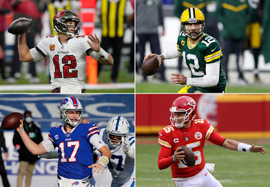 Tom Brady (top left), Aaron Rodgers (top right), Josh Allen (bottom left), and Patrick Mahomes (bottom right) have all led their teams to the doorstep of Super Bowl LV each with fantastic seasons in their own right.