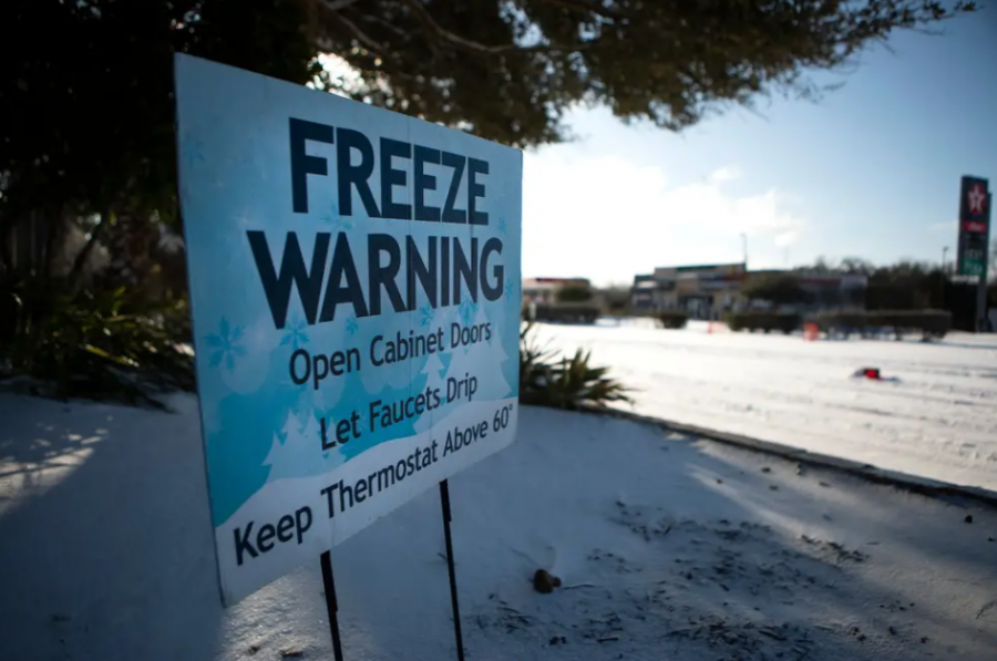 A sign warns Austin residents of the dangers of the freezing temperatures.