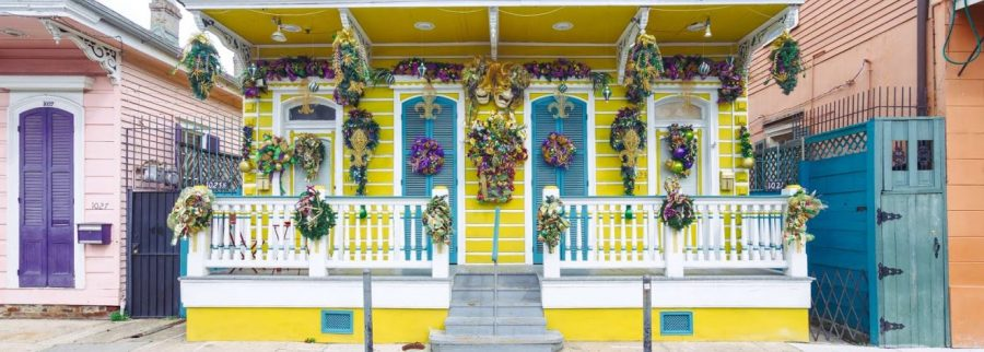 A home in New Orleans decorated for Mardi Gras.