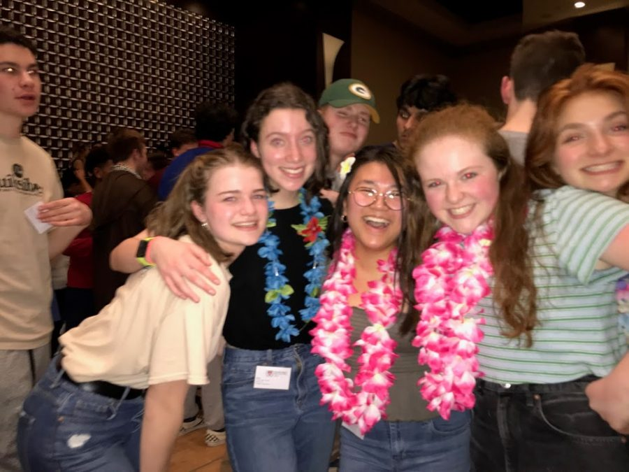 A snapshot from last year's in person conference.   From left to right: Anna Mayo, Julia Burm, Jade Larson, Mia Kourafas, Grace Lepenske (4/5 of the senior captains!)
