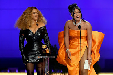 Beyoncé (left) made history by first tying then breaking the all time record for most Grammys won by an artist, male or female. Megan Thee Stallion (right) also had a phenomenal night, winning her first three trophies.