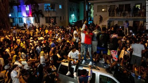 Large crowds have gathered past the 8pm curfew in Miami for many nights