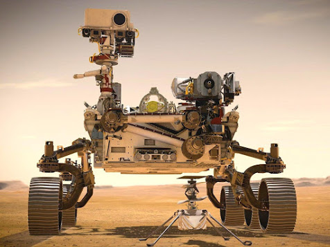 Image of the Perseverance Rover and the Ingenuity Mars Helicopter