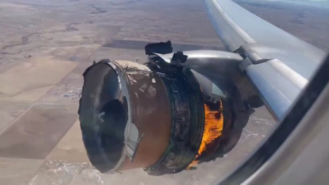 A passenger took this photo of the Pratt and Whitney engine moments before landing.