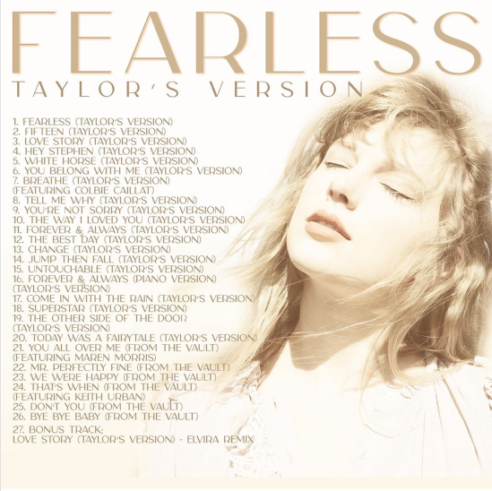 Taylor posted the complete track list of Fearless (Taylor's Version) on April 3, 2021 and released the album days later on April 9th!