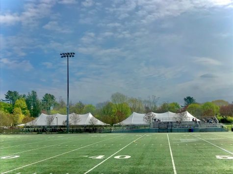 HHS has assembled large white tents and opens up the bleachers as an alternative eating area to keep students and faculty feeling safe and appropriately spaced apart.