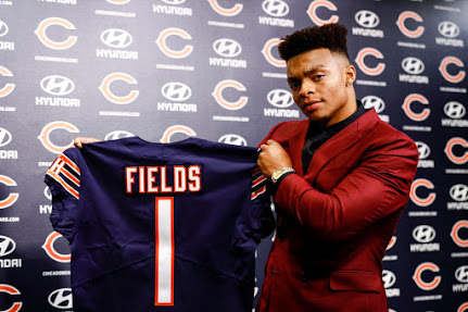 Here is a look at the newest Chicago Bears quarterback, Justin Fields from Ohio State, who the Bears traded up to select with the 11th pick of the first round.