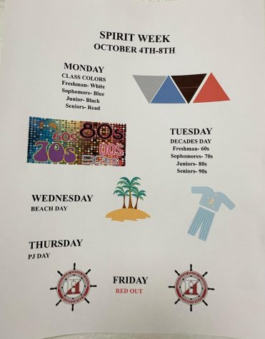 One of the many spirit week posters hanging around the building.
